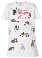 """She Who Sleeps With Cats"" Sleep Shirt at www.saltypaws.com"