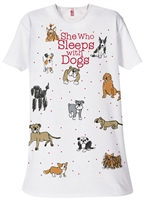 """She Who Sleeps With Dogs"" Sleep Shirt at www.saltypaws.com"