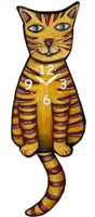 Tabby Yellow Cat Wagging Tail Clock www.SaltyPaws.com