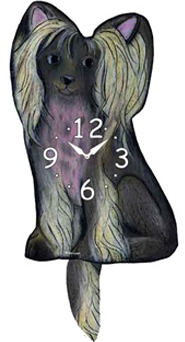 Chinese Crested Dog Wagging Tail Clock www.SaltyPaws.com