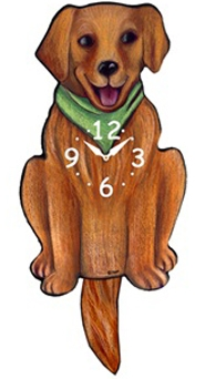 Golden Wagging Tail Clock www.SaltyPaws.com