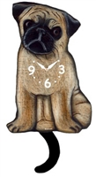 Pug Wagging Tail Clock www.SaltyPaws.com