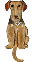Airedale Wagging Tail Clock www.SaltyPaws.com