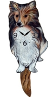 Sheltie Wagging Tail Clock www.SaltyPaws.com