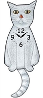 White Cat Wagging Tail Clock www.SaltyPaws.com