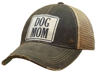Dog Mom Distressed Trucker Cap Charcoal