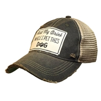 Hat Hold My Drink While I Pet This Dog Cap Distressed Plaid