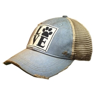 Hat Love Pawprint Cap Distressed Light Blue