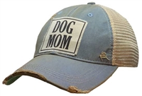 Dog Mom Distressed Trucker Cap Light Blue