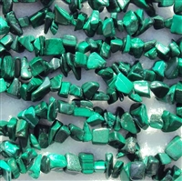 malachite chip bead string 36""
