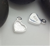 Tiny silver heart charm with cavity for resin etc