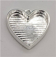 sterling silver heart bezel charm large
