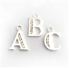 st. silver zirconia letter charm