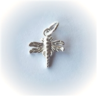 10mm st. silver dragonfly charm