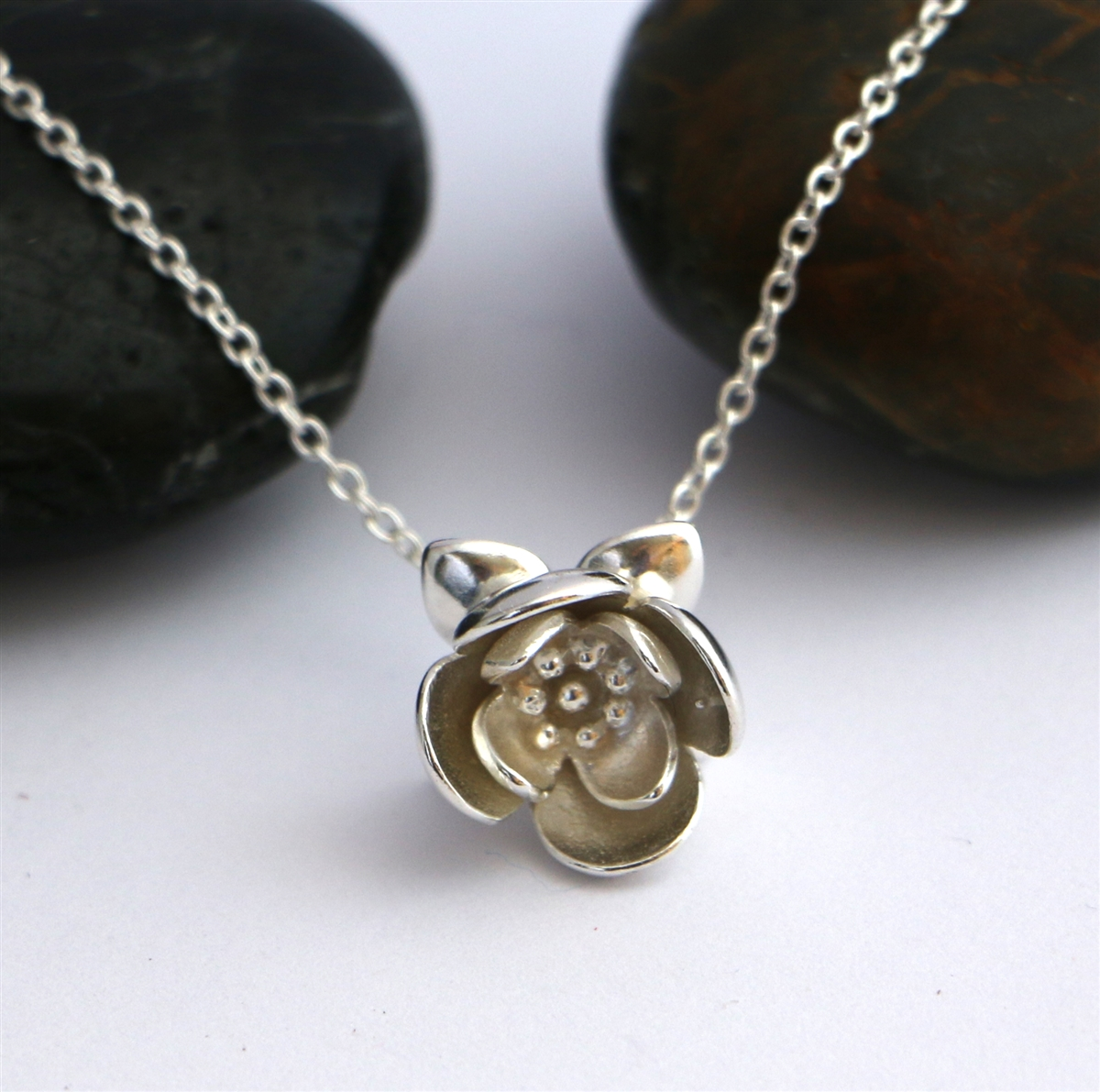Solid Sterling Silver Lotus 3d Flower Pendant