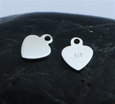 6mm st. silver flat heart charms (pk. 2)
