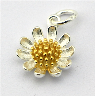 Daisy Flower Sterling silver w/gold charm / pendant