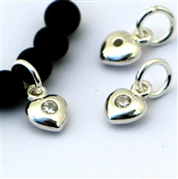 Sterling Silver baby puff heart w/ zirconia centre