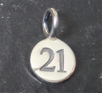 sterling silver round number charm -21