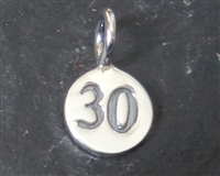 sterling silver round number charm -30