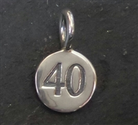 sterling silver round number charm -40
