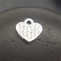 sterling silver zirconia heart charm