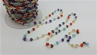 SALE ! rainbow colours gemstone sterling silver gemstone chain per inch