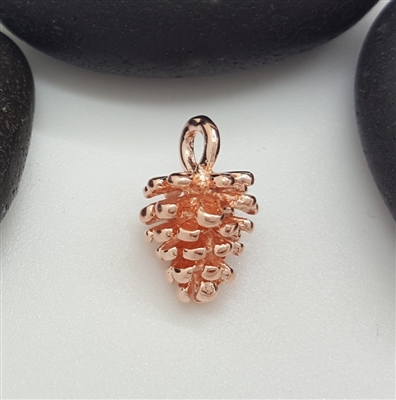 rose gold plated sterling silver fir cone charm