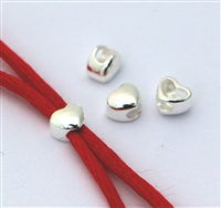 solid Silver lrg. Hole HEART slider bead