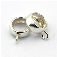 Sterling silver Lrg Hole bead with loop