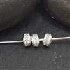 sterling silver zirconia roundel bead 3.5mm