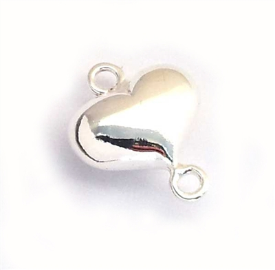 14mm st silver puffed heart connector