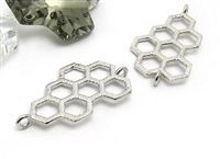 Sterling silver Honeycomb Bee connector