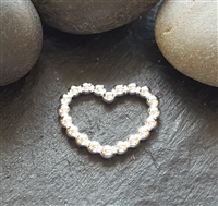Sterling Silver beaded heart connector