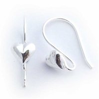 7mm heart ear wires st. silver (1pr)
