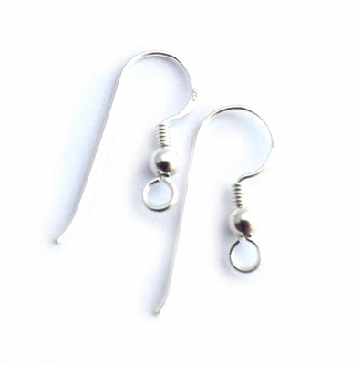 st silver earwires with 3mm ball (2 PAIRS)