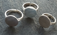 Small 15mm Solid Silver ring blank pad