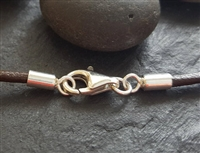 st. silver 2mm cord end set with lobster clasp