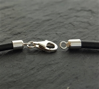 st. silver 3mm cord end set with lobster clasp