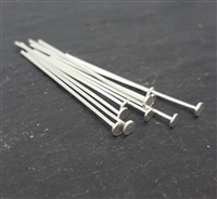 22 gauge sterling silver head pins (10) 1 inch 2.2mm heads