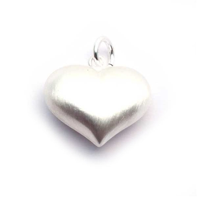 20mm puff heart pendant sand brushed st. silver