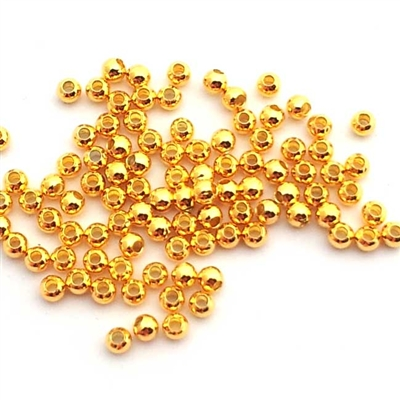 2mm round gold on silver beads (100)