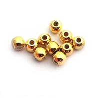 3mm round gold on silver beads (10)