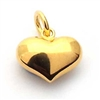 14mm puffed heart charm gold on st. silver