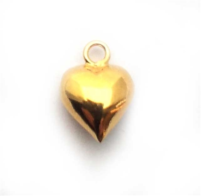 6mm puff heart gold plated silver