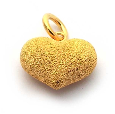 14mm puff heart stardust gold on st. silver