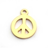 peace charm 10mm gold on st. silver