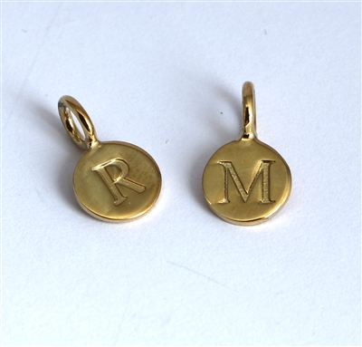 gold on sterling silver round letter charm