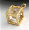 gold on sterling cube charm with zirconia