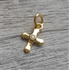 gold on sterling cross charm